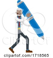 Poster, Art Print Of Mature Black Doctor Man Mascot Holding Pen Concept