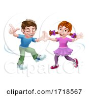 Poster, Art Print Of Boy And Girl Kid Cartoon Child Characters Dancing