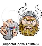 Viking Gamer Video Game Controller Mascot Cartoon