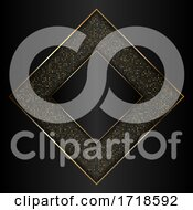 Poster, Art Print Of Decorative Gold And Black Background With Metallic Gold Frame