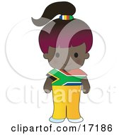 Cute African Girl Wearing A Flag Of South Africa Shirt Clipart Illustration