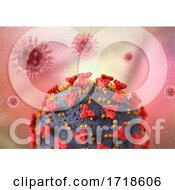 3D Medical Background With Close Up Of Covid 19 Virus Cell