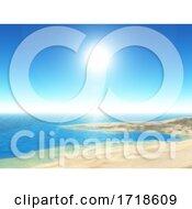 3D Tropical Beach Scene With Clear Blue Sky