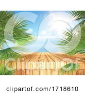 3D Tropical Landscape With Wooden Table And Palm Trees Looking Out To The Ocean