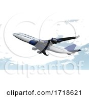 Airplane Isolated On Cloud Sky Background