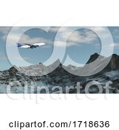 Airplane Isolated On Snowy Mountain Background