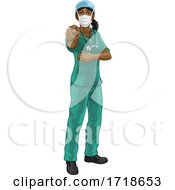 Doctor Or Nurse Woman In Scrubs Uniform Pointing