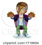 Black Child Boy Cartoon Halloween Vampire Costume by AtStockIllustration