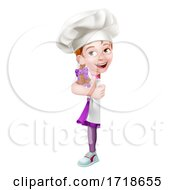 Poster, Art Print Of Kid Cartoon Girl Chef Cook Baker Child Sign