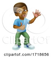 Poster, Art Print Of Black Cartoon Boy Child Kid Giving Thumbs Up
