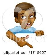 Poster, Art Print Of Black Boy Cartoon Child Kid Pointing Sign
