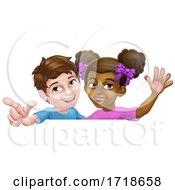 Girl And Boy Cartoon Children Kids Sign