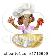 Poster, Art Print Of Black Girl Cartoon Child Chef Cook Baker Kid