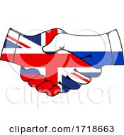 Shaking Great Britain And Russian Flag Hands