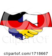 Shaking German And French Flag Hands