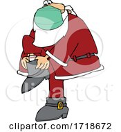 Poster, Art Print Of Cartoon Coronavirus Santa Wearing A Mask And Putting His Boots On