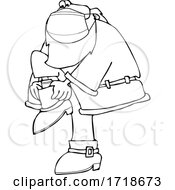 Poster, Art Print Of Cartoon Black And White Covid Santa Wearing A Mask And Putting His Boots On