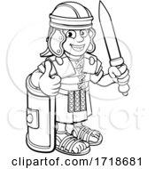 Poster, Art Print Of Roman Soldier Cartoon Character