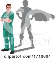 Poster, Art Print Of Superhero Nurse Doctor Shadow Super Hero