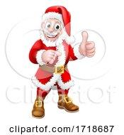 Poster, Art Print Of Santa Claus Thumbs Up Pointing Christmas Cartoon
