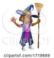 Poster, Art Print Of Black Girl Cartoon Child Halloween Witch Costume