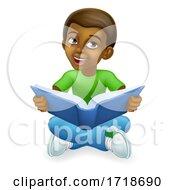 Poster, Art Print Of Black Child Boy Cartoon Kid Reading Book