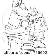 Cartoon Corona Virus Santa Wearing A Mask And Giving A Boy A Candy Cane