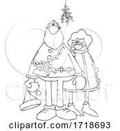 Poster, Art Print Of Cartoon Corona Virus Santa And Mrs Claus Wearing Masks Under Mistletoe