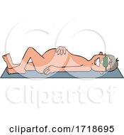 Cartoon Happy Nude Man Sun Bathing On A Beach Towel