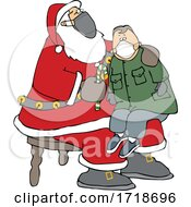 Cartoon Covid Santa Wearing A Mask And Giving A Boy A Candy Cane