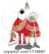 Cartoon Covid Santa And Mrs Claus Wearing Masks Under Mistletoe
