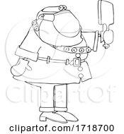 Cartoon Covid Santa Checking Himself Out In A Hand Mirror