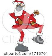 Cartoon Covid Santa Wearing A Mask And Strutting