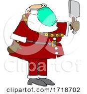 Cartoon Coronavirus Santa Checking Himself Out In A Hand Mirror