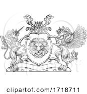Coat Of Arms Pegasus Unicorn Crest Lion Shield