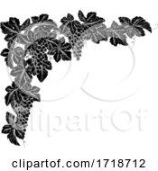 Poster, Art Print Of Grape Bunches On Vine Corner Border Design Element