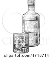 Drink With Ice Bottle And Glass Vintage Drawing