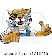 Poster, Art Print Of Wildcat Electrician Handyman Holding Screwdriver