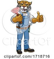 Wildcat Plumber Cartoon Mascot Holding Plunger