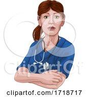 Poster, Art Print Of Doctor Or Nurse Woman In Scrubs Uniform