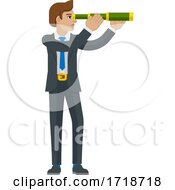 Poster, Art Print Of Telescope Spyglass Character Business Concept
