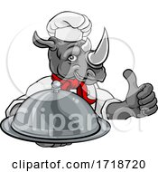 Rhino Chef Mascot Sign Cartoon Character by AtStockIllustration
