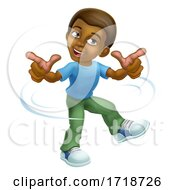 Poster, Art Print Of Black Boy Cartoon Kid Children Dancing