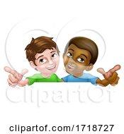 Poster, Art Print Of Boys Pointing Cartoon Children Kids Sign