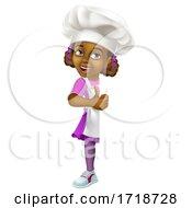 Poster, Art Print Of Black Girl Cartoon Child Chef Kid Sign Thumbs Up