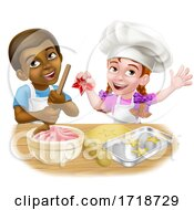 Poster, Art Print Of Girl And Boy Cartoon Child Chef Cook Kids