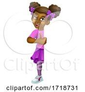 Poster, Art Print Of Black Girl Cartoon Child Kid Thumbs Up Sign