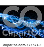 3D Medical Background With DNA Strand On Abstract Design