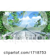 3D Wooden Table In Trees Against A Defocussed Landscape Background
