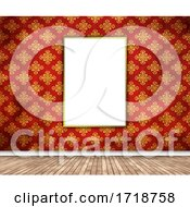 3D Interior With Blank Picture Hanging On Damask Wallpaper